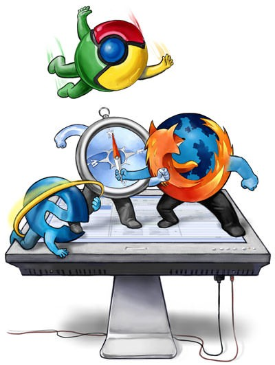 Navegador seguro como Chrome do Google, Mozilla Firefox ou Safari do Mac