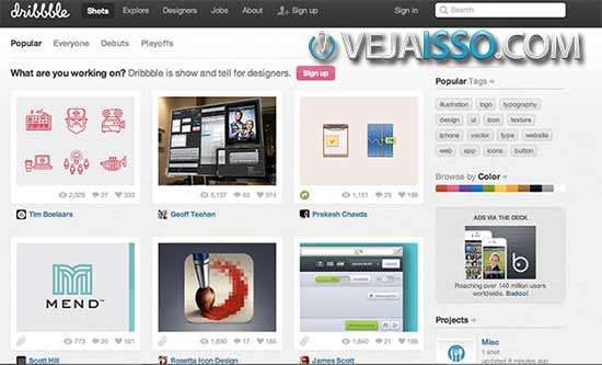 Dribbble o portfolio online para designers e programadores - Screenshot das interfaces e apps